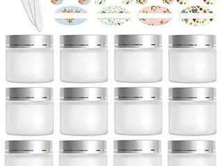 12 Pack 60ml 2 oz Matte Clear Glass Jars with Silver lids   Inner liners Round Containers Travel Jars for Cosmetics  Eye Shadow  Makeup and Face cream lotion