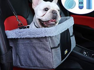 lIMETEK Pet Car Booster Seat  Metal Frame Construction  Included Removable Blanket and Collapsible Water Bowl  Easy to Clean  Dog Seat for Car  Perfect for Small Dogs Up to 20 lbs