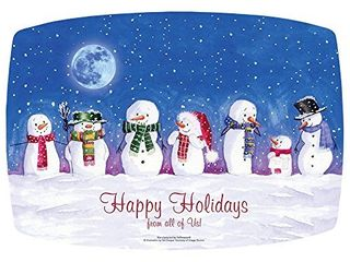FashnPoint 311098 Happy Holidays Christmas Winter Snowman Placemats 9 75  x 14  50 per Pack