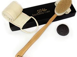 loofah Back Scrubber   Body Brush for Dry Skin Brushing with 100  Natural Boar Bristles and long Handle   Exfoliating Konjac Sponge   Back Scratcher Brush  Bath and Shower Cellulite Brush Gift set