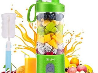 Olivivi Portable Blender  Multifunctional Personal Blender Mini Smoothie Blender 6 Powerful Blades  4000mAh Rechargeable USB Juicer Cup with Strainer Cleaning Brush for Travel BPA Free Green
