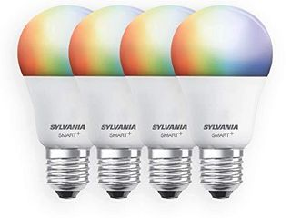 SYlVANIA Smart  Wi Fi Full Color Dimmable A19 lED light Bulb  CRI 90  60W Equivalent  Compatible with Alexa and Google Assistant  4 Pack