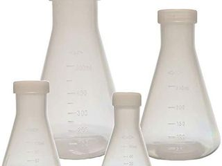 Plastic Erlenmeyer Flask Set with Screw Caps   4 Sizes   50  100  250  and 500ml  Polypropylene  Molded Graduations  Karter Scientific 252N9