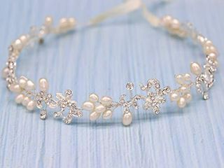 Ammei Silver luxury Bridal Headbands With Genuine Freshwater Pearls Hair Vines Wedding Headpieces For Bride Bridesmaids Prom Hair Accessories With Ivory Ribbons