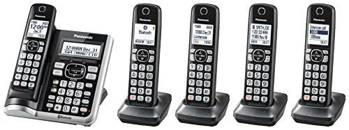 Panasonic link2Cell Bluetooth Cordless Phone System with Voice Assistant  Call Blocking and Answering Machine  DECT 6 0 Expandable Cordless System   5 Handsets   KX TGF575S  Silver