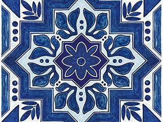 Con Tact Brand FloorAdorn Vinyl Floor Appliques Self Adhesive  Decorative and Removable Tiles  12 X12  Dark Blue Moroccan  6 Count