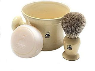 GBS Men s Shaving Set Ivory   3 Piece set   Pure Badger Hair Brush  Ceramic Mug   97  All Natural Shave Soap Compliments any Shaving Razor For The Best Shave Great Grooming Gift Christmas  Ceramic Mug  Handle Broken