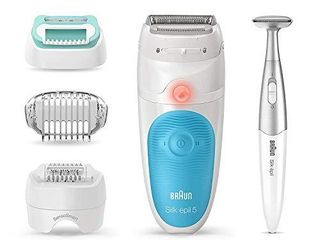Braun Epilator Silk pil 5 5 810  Hair Removal for Women  Shaver and Bikini Trimmer  Cordless  Rechargeable  Wet   Dry