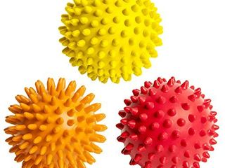 Octorox Spiky Massage Balls for Foot  Back  Muscles   3 Soft to Firm Spiked Massager Rollers for Plantar Fasciitis  Trigger Point Therapy  Exercise  Yoga  Acupressure  Reflexology  Pilates  3 Inch