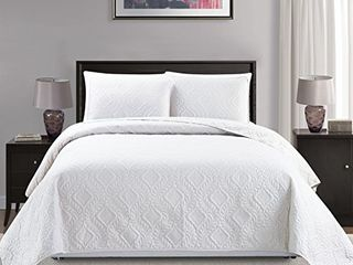 Mk Collection 3pc King California King Over Size 118 x106  Diamond Bedspread Bed Cover Embossed Solid White New