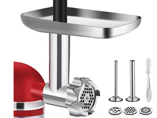 Metal Food Grinder Attachment for KitchenAid Stand Mixers  G TING Meat Grinder Attachment Included 2 Sausage Stuffer Tubes  3 Grinding Blades  3 Grinding Plates