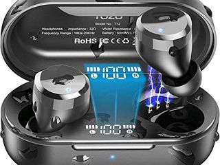 TOZO T12 Wireless Earbuds Bluetooth Headphones Premium Fidelity Sound Quality Wireless Charging Case Digital lED Intelligence Display IPX8 Waterproof Earphones Built in Mic Headset for Sport Black