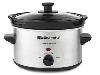 Elite Gourmet MST 275XS Electric Oval Slow Cooker  2QT Capacity  Stainless Steel Adjustable Temp  Entrees  Sauces  Stews   Dips  Dishwasher Safe Glass lid   Crock  2 Quart