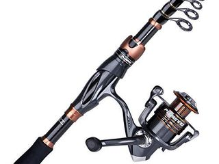 PlUSINNO Fishing Rod and Reel Combos   Toray 24 Ton Carbon Matrix Telescopic Fishing Rod Pole   12  1 Shielded Bearings Stainless Steel BB Spinning Reel
