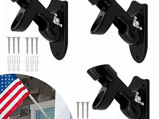 3 Pcs Flag Pole Holder  Aluminum Flag Pole Bracket Two Position Rust Free Wall Mounting Bracket for House with Stainless Steel Self Tapping Screws   1  Inner Diameter  Black