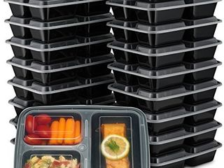 EZ Prepa  20 Pack  32oz 3 Compartment Meal Prep Containers with lids   Bento Box   Durable BPA Free Plastic Reusable Food Storage Containers   Stackable  Reusable  Microwaveable   Dishwasher Safe