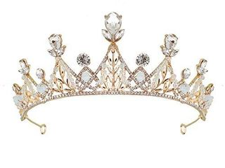 TOCESS Princess Crown and Tiara for Women and Girls Queen Crown Prom Costume Tiara Rhinestone Wedding Crown for Bride for Festival Party Birthday  Gold