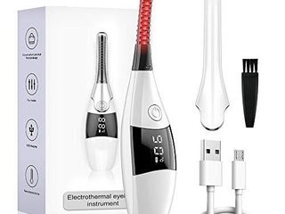 Heated Eyelash Curler  2021 Upgraded 8s Quick Heat Mini Electric Eyelash Curler USB Rechargeable lashes Comb with 4 Temperature Gears   lED Display for Women Girl   24H long lasting Curling