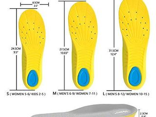 VoMii PU Memory Foam Insoles Plantar Fasciitis Arch Support Insoles for Women Men and Kids  Comfortable Breathable Sports Shoe Inserts  Shock Absorption and Relieve Foot Pain  M Men 6 9  Women 7 11