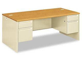 HON 38000 Series Double Pedestal Desk  72w x 36d x 29 1 2h  Harvest Putty