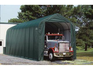 Shelterlogic Peak Style Garage Storage Shelter  Green  40ft l x 15ft W x 16ft H  2 3 8in  Frame  Model  95844
