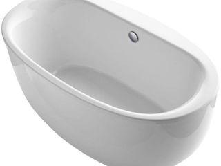 KOHlER K 6369 0 Sunstruck 66 Inch X 36 Inch Oval Freestanding Bath with Fluted Shroud and Center Drain  White  1 Pack