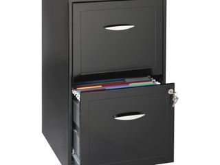 Hirsh 2 drawer Smart File   14 3  X 18  X 24 5    Steel   2 X File Drawer s    letter   Drawer Extension  locking Cam Handle  Sturdy  Durable  Casters  Glide Suspension   Black  hid 16995