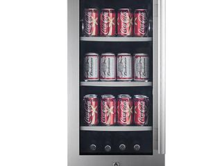 Avallon ABR151GlH Stainless Steel 15  Wide 86 Can Energy Efficient Beverage Center