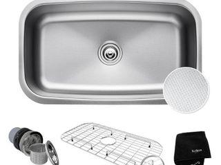 KRAUS Outlast MicroShield Scratch Resist Stainless Steel Undermount Single Bowl Sink  31 5  16 Gauge  Premier Series