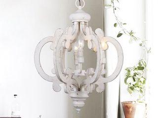 6 light Distressed Antique White Wooden Chandelier  Retail 179 49