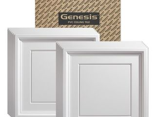Genesis Icon Coffer White 2 x 2 ft  lay in Ceiling Tile  Pack of 12  Retail 131 99