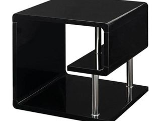 Furniture Of America Ninove Contemporary Style Black High Gloss Finish End Table