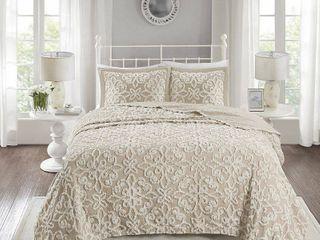Madison Park Sarah Tufted Cotton Chenille Bedspread Set  Retail 111 49