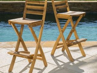 Tundra Outdoor Acacia Wood Bar Stool by Christopher Knight Home  Set of 2  Retail 169 99
