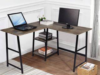 FurnitureR 44 in  l Shaped Walnut Computer Desk with Shelves  Brown