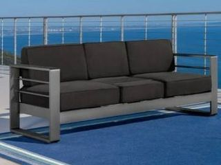 Cape Coral Cushioned Aluminum Outdoor Sofa by Christopher Knight Home