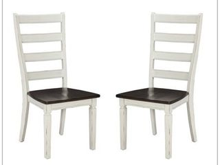 Glenwood Rubbed White and Charcoal ladderback Dining Chair  Set of 2  Retail 116 47