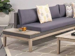 light Gray Finish   Dark Gray Cushion  loft Outdoor Cushioned Acacia Wicker loveseat