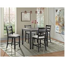Picket House Furnishings Kona Gray 5 Piece Counter Height Dining Set Table   Four Chairs