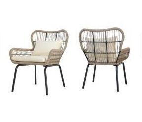 Southport Outdoor Club Chairs with Cushions  Set of 2  by Christopher Knight Home   brown   beige