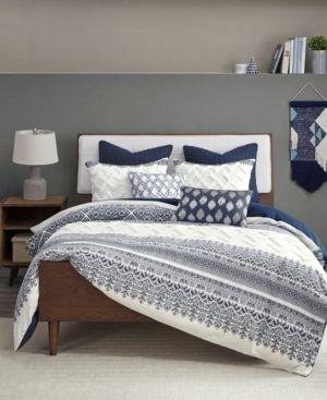 3pc King California King Mila Cotton Printed Comforter Set Navy