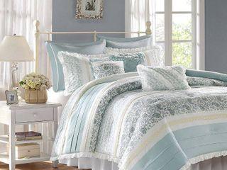 Home Essence Stella 9 Piece Cotton Percale Bedding Comforter Set  King