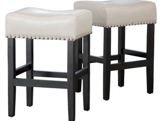 Ivory  lisette 26 inch Backless Ivory leather Counter Stool  Set of 2  by Christopher Knight Home  Retail 168 99