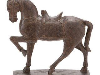 Decmode Traditional 15 Inch Resin Prancing Horse Sculpture  Brown