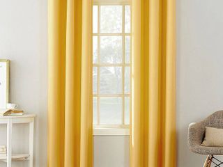 Set of 2   95 x48  Montego Casual Textured Grommet Curtain Panel Yellow   No  918