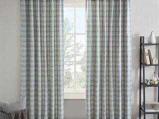2 Madison Park Salford Plaid Rod Pocket and Back Tab Single Curtain Panel with Fleece lining