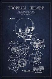iCanvas  Football Helmet Navy Blue Patent Blueprint  by Aged Pixel Canvas Print