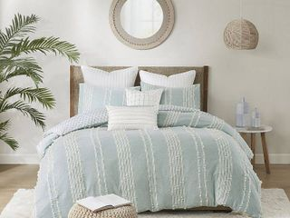 3pc King California King Kara Cotton Jacquard Comforter Mini Set Aqua   JlA Home