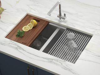Ruvati 33 inch Workstation ledge 60 40 Double Bowl Undermount 16 Gauge Stainless Steel Kitchen Sink   RVH8356   8  x 11  Retail 411 99