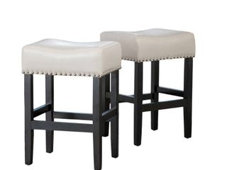 lisette 26 inch Backless Ivory leather Counter Stool  Set of 2  by Christopher Knight Home  Retail 168 99